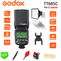 Godox TT685C Speedlite High Speed Sync External TTL + 15*17cm softbox + Color filters for For Canon Flash 1100D 1000D 7D 6D