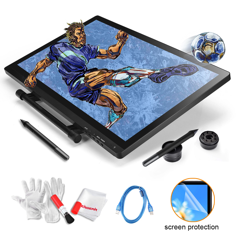 2 Pens UGEE UG 2150 Professional Graphic Tablet 21.5 IPS Art Drawing Monitor + Scree Protector+3 in 1 Cleaning Kit as Gift