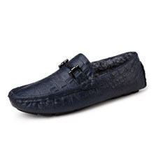 Casual Shoes Mens Split Leather Loafers Fur Winter Warm Men's Loafers Fashion Man Solid Slip On Moccasins Free Shipping 9831L(China)