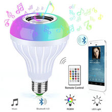 Smart Light Bulb E27 Bluetooth Speaker Music Playing Dimmable Wireless Lamp Colorful RGB With 24 Keys Remote Control Home Decor(China)