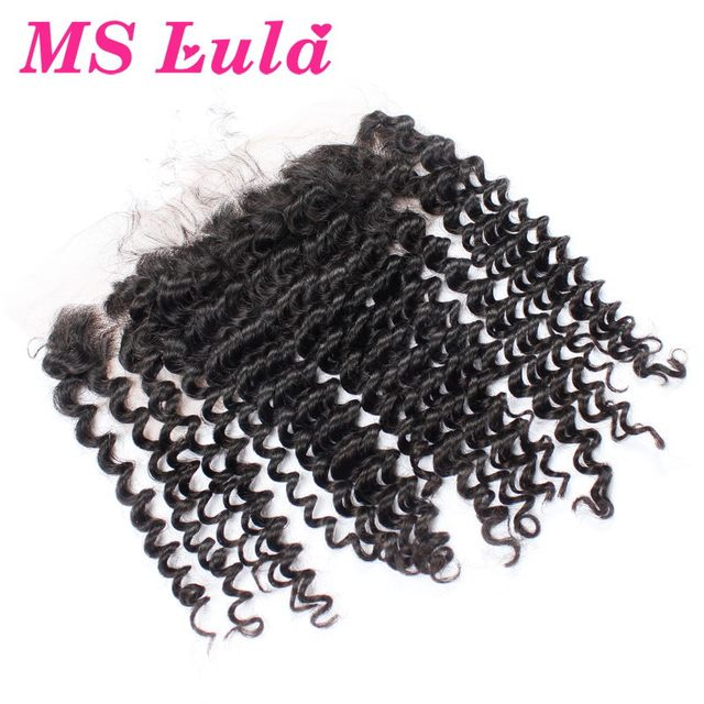Ms Lula hair 7A brazilian kinky curly virgin hair Lace Frontal Closure ear to ear 4x13 size soft no smell no sheds Free Shipping