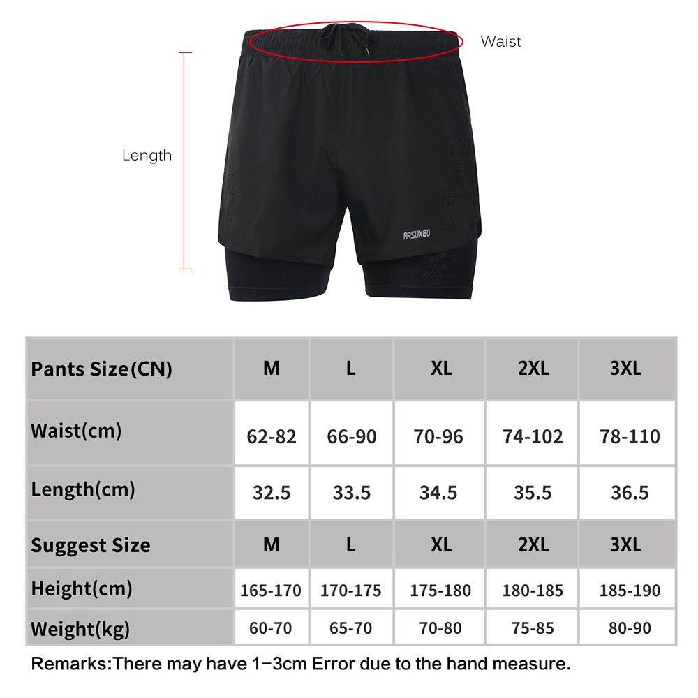 441356cc680 Arsuxeo Running Shorts Quick Drying gym tights Training Exercise Jogging  sports Cycling Short Longer Liner men 2 in 1 yoga Short-in Running Shorts  from ...