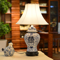 Chinese Traditional Blue White Porcelain Ginger Jar Table Lamps For Bedroom