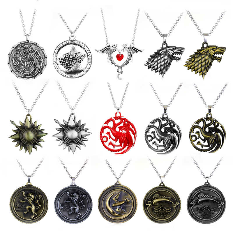 MQCHUN Game of Thrones Stark Family Lion Wolf Dragon Lannister Targaryen Stark Baratheon Arryn Greyjoy Family Members Necklace