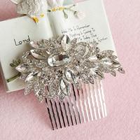 New Bridal Wedding Flower Crystal Rhinestones Craft Women Hair Clip Comb Item NO ST019TS048