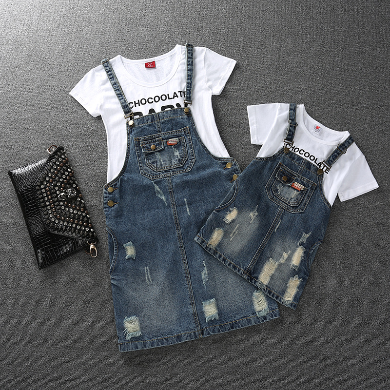 Family Look Girls Dress Denim Mom and Daughter Dress Matching Mother Daughter Clothes Mommy and Me Clothes Plus Size(China)