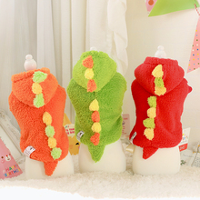 2015 Funny Cute Dog Hoodies Coat Little Dinosaur Sweater Fleece Clothes for Small Dog Puppy Cat Bichon Teddy Yorkshire Terriers