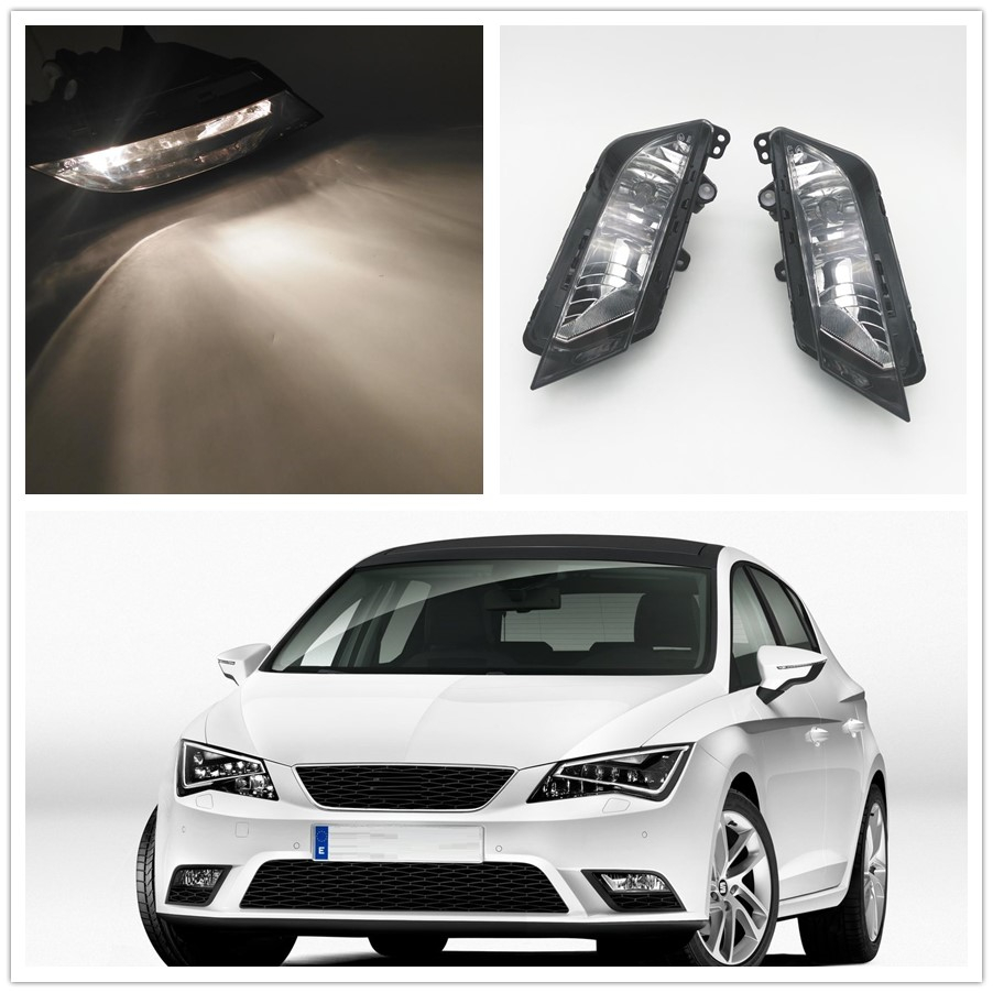 2PCS For Seat Leon 2013 2014 2015 2016 2017 Car-styling Front Bumper Halogen Fog Light Fog Lamp With Bulbs
