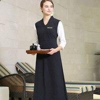 Tea And Piano House Work Clothing Chinese Style Vintage Exlong SPA Dress Uniform Fashion Elegant V Neck Vest Nurse Uniforms Sale