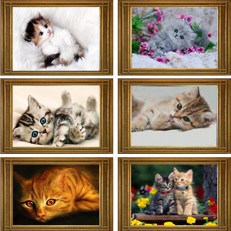 ②40*30 cm DIY 5d diamante mosaico Cartoon Gatos hecho a mano ...