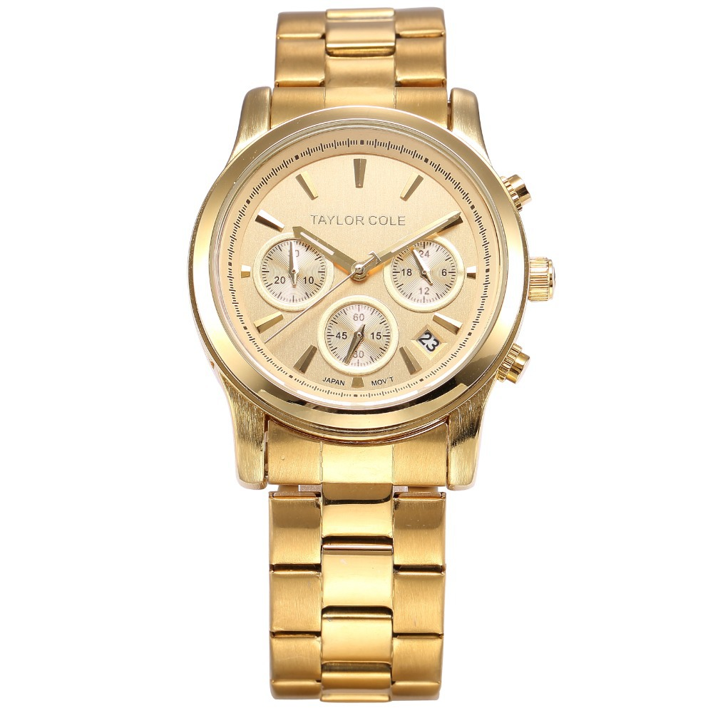 Taylor Cole Luxury Brand Relogio Feminino Montre Stainless Steel Band Date Chronograph Women Fashion Quartz Watches Gift / TC006 taylor cole relogio tc013