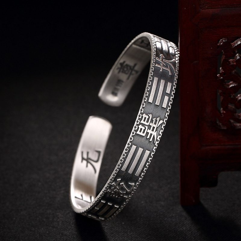 Tibet Eight diagrams of the universe Vintage 990 Sterling Silver Bangles Jewelry Thai Silver Bangle Hot Sale Jewel