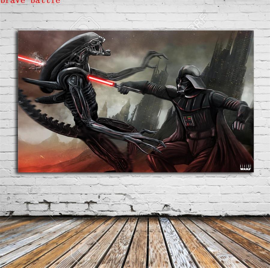 Aliens Vs Darth Vader Star Wars HD Canvas Print Home Decor Painting Wall Art