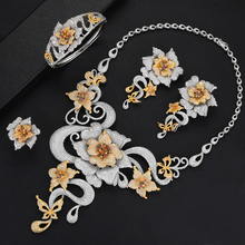 SisCathy Exclusive Handmade Luxury 4 PCS Full Mini Cubic Zirconia Jewelry Sets Necklace Bangle Earrings Ring Women Set