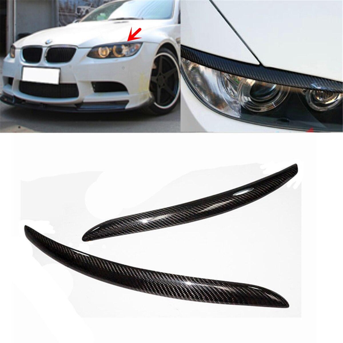 A Pair Headlight Lid Eyebrow EyeLids For BMW E92 E93 335I 335CI Model 2007-2012 Real Carbon Fiber Eyelids Trim Cover