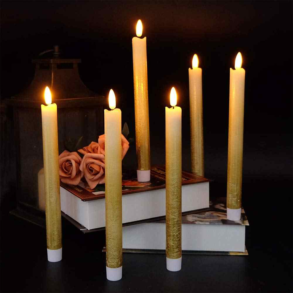 outlet store a94dd f7939 Eldnacele Set of 6 Flameless Flickering Taper Candles LED Battery Operated  Window Candles with 6 Hours Timer ,3D Wick