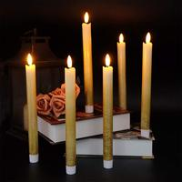 Eldnacele Set of 6 Flameless Flickering Taper Candles LED Battery Operated Window Candles with 6 Hours Timer ,3D Wick