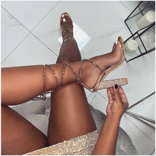Liren 2019 Summer Fashion Sexy Golden Cross-Tie Lace-Up Lady Gladiator Sandals Rhinestone Square High Heels Open Toe Shoes
