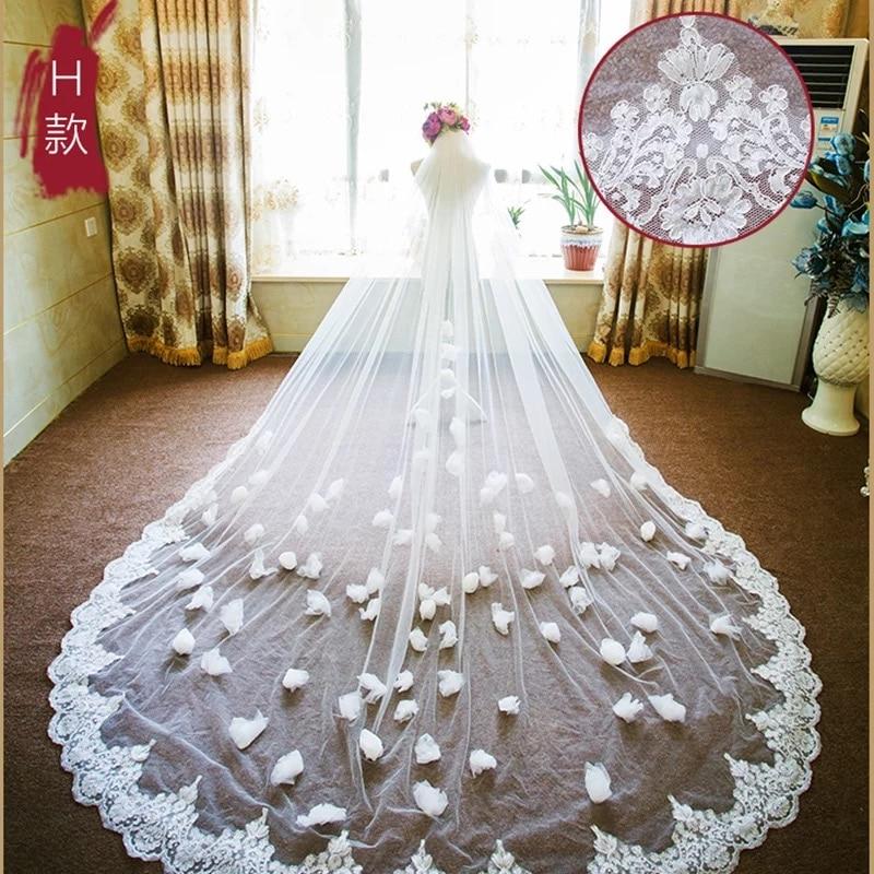 Long Wedding Veils Lace Appliques Bridal Veils Hand Made Flowers Velo De Novia 4 Meters Wedding Accessories Two Layers Veils