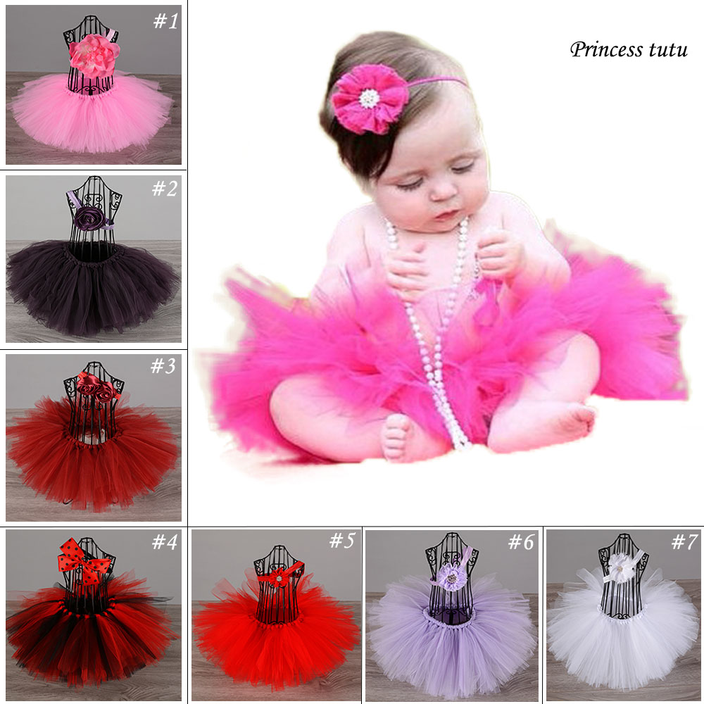 Hot Pink Newborn Baby Birthday Party Tutu Skirt Lovely Infant Toddler Fluffy Tulle Ballet Tutu Skirts For Infantile Dance wear