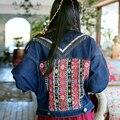 Национальный тенденция джинсовая куртка женщин весной джинсовой верхняя одежда женский кисточка laciness короткие batwing богема цвет блока clothing