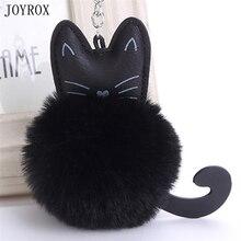 JOYROX Cute Black Cat Keychain Trinket Charm Fluffy Rabbit Fur Pompom Key Ring Women Car Bag