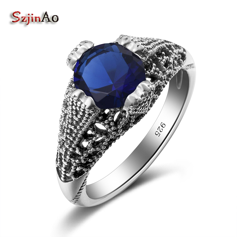 Szjinao Brilliant Round Marriage Ring Manufacturer 925 Sterling Silver Jewelry Bohemia Anel Vintage Sapphire Rings Gift