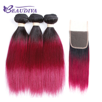 BEAUDIVA Pre Colored Remy Human Hair Bundles With Lace Closure 4 4 TB 118 Ombre Color