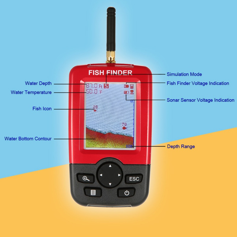 Offre spéciale Alarme 100 M Portable Sonar LCD Sans Fil Fish Finder leurre De Pêche Sondeur De Pêche Finder sondeur Anglais - 3