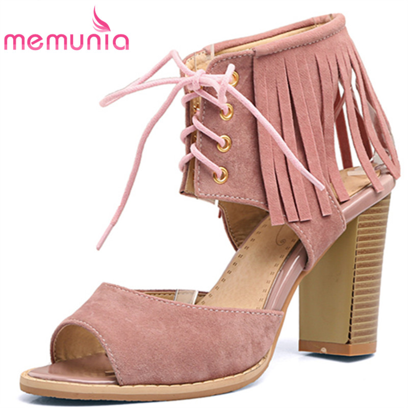 MEMUNIA big size 34-48 high heels sandals women fashion High help lace up summer shoes classic thick heels tassel ladies shoes