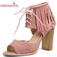 MEMUNIA Big Size 34 48 High Heels Sandals Women Fashion High Help Lace Up Summer Shoes