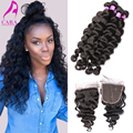 "7A Peruvian Loose Wave With Closure 4Pcs/Lot Peruvian Virgin Hair Loose Wave 5x5"" Lace Closure With Bundles Cara Hair Products"