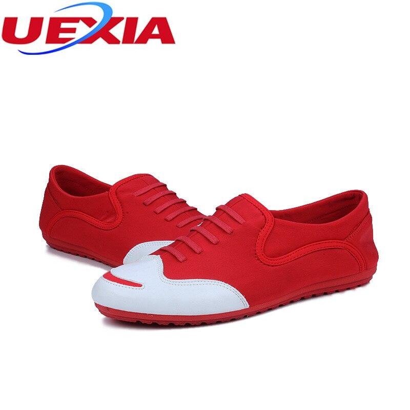 Uexia Ventas Moda Casual red Primavera Otoño Mocasines Cuero Zapatos Cómodo Los White Mens Calientes Pu De Mano Hombres A Hecho EqEdfrp
