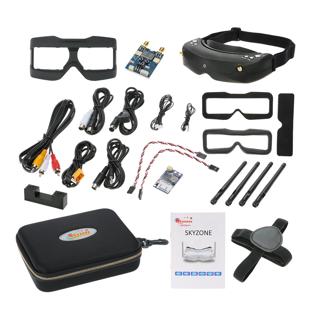 Skyzone SKY02S V + 3D FPV lunettes/lunettes vidéo avec Mode 3D/2D 48CH 5.8G diversité récepteur tête piste/caméra pour RC quadrirotor