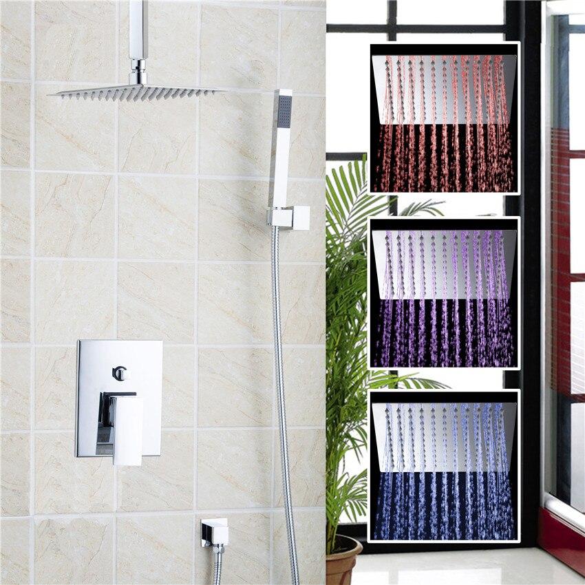 YANKSMART 3 Colors LED Luxury Hot Sale LED Square Rain 8 Shower Head Shower Sprayer with the Control valve shower set yanksmart bath