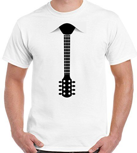 2018 100% Cotton T Shirts Brand Clothing Tops Tees Guitar Necktie Men's  Funny T-