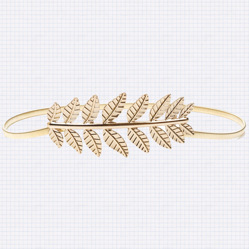Luxury Brand high quality waistband chain Fashion women elastic   belt   Vintage Elastic Leaf women gold silver skinny metal   belt