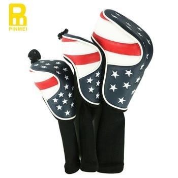 米国旗ゴルフカバーヘッドカバー1#ドライバー、3#、5#フェアウェイウッドカバー送料無料ゴルフウッド5ヘッドカバー