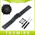 24mm Pulseira de Aço Inoxidável Fivela de Segurança Alça para Suunto Core Cinto de Faixa de relógio de Pulso Pulseira Link + Adaptadores Lug + ferramenta