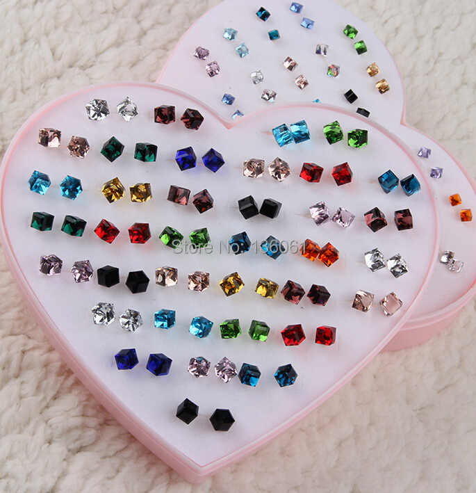 Mixed Four Squares Glass Crystal Plastic Ear Pin Earrings Charm Statement Stud Earrings Girl Accessories Jewelry For Women