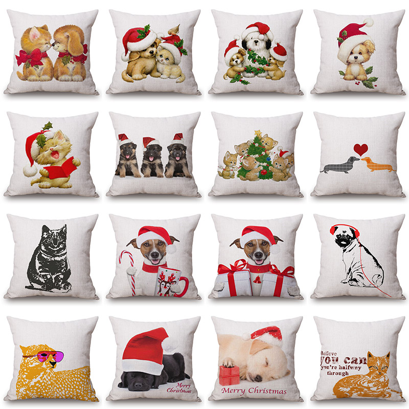 Christmas Dog Cat Printed Cotton Linen Pillowcase Decorative Pillows Cushion Use For Home Sofa Car Office Almofadas Cojines