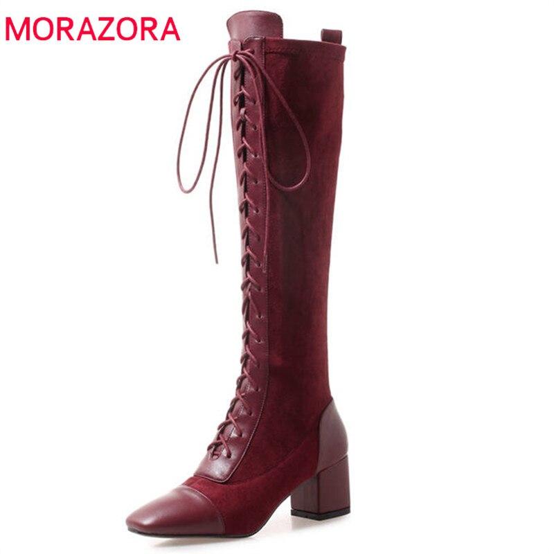 MORAZORA 2019 วัวหนังเข่ารองเท้าบูทสูงสแควร์ toe lace up รองเท้าแฟชั่นรองเท้าส้นสูงรองเท้าฤดูใบไม้ร่วง elegant dress รองเท้า-ใน รองเท้าบู๊ทสูงระดับเข่า จาก รองเท้า บน   1