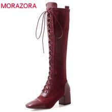 MORAZORA 2020 วัวหนังเข่ารองเท้าบูทสูงสแควร์Toe Lace Upรองเท้าแฟชั่นรองเท้าส้นสูงรองเท้าฤดูใบไม้ร่วงElegant DRESSรองเท้า