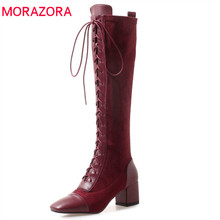 MORAZORA 2020 cow leather knee high boots women square toe lace up fashion boots high heels autumn boots elegant dress shoes