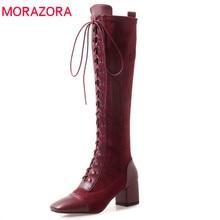 MORAZORA Botas de piel de vaca hasta la rodilla con cordones y punta cuadrada, zapatos para vestir elegante, para otoño, 2020