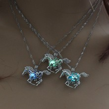 Hot Sale Running Horse Luminous Locket Pendant Necklace Glowing in the Dark Vintage Jewelry Necklace For Women Choker(China)