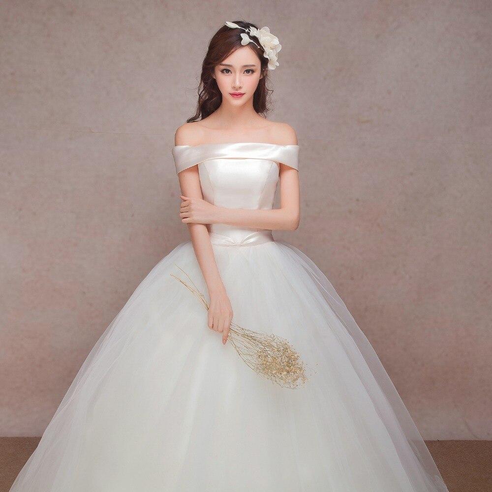 Strapless Boho Korean Wedding 2016 Bride Dress Simple Sheap Bridal Gown Real Photo Wedding Dress Weding Weeding Vestido De Noiva In Wedding Dresses