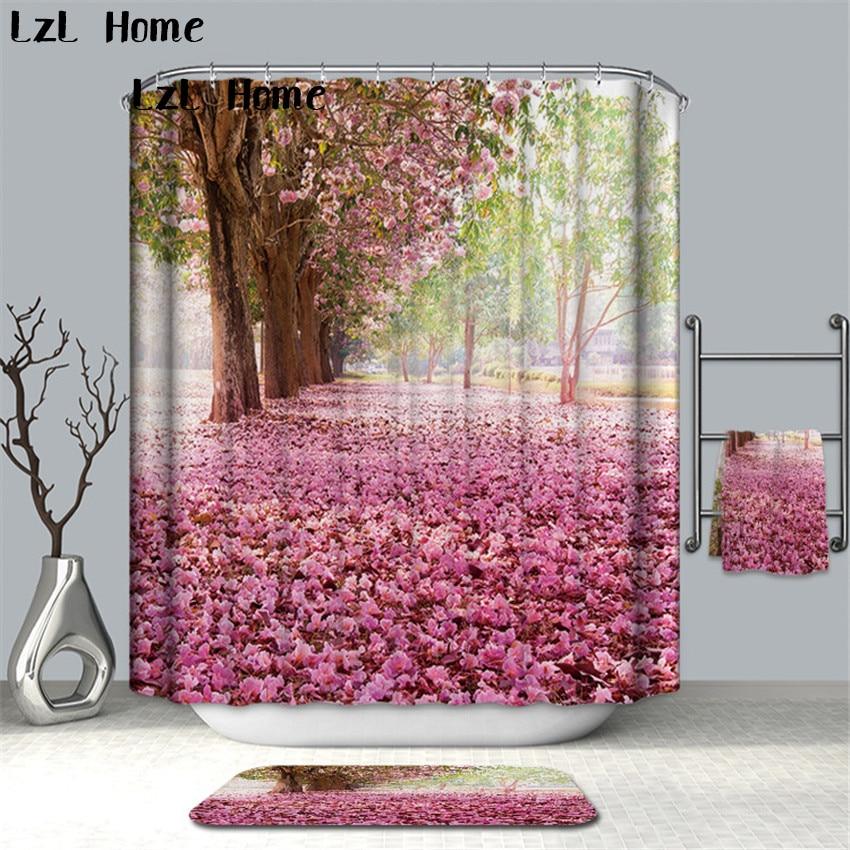 LzL Home Fancy Beautiful Blooming Flower Shower Curtain Home Decor Bathroom Curtains Eco-friendly Waterproof Bath Curtain Gift zwbra shower curtain