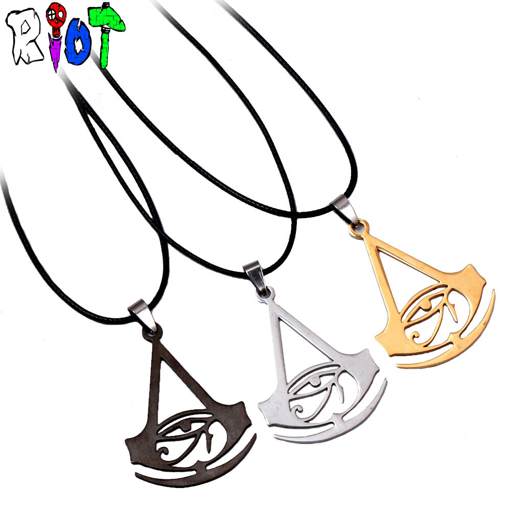 Assassins Origins Logo Leather Chain choker necklace 3 color Stainless Steel Pendant Unisex jewelry Fans Gift