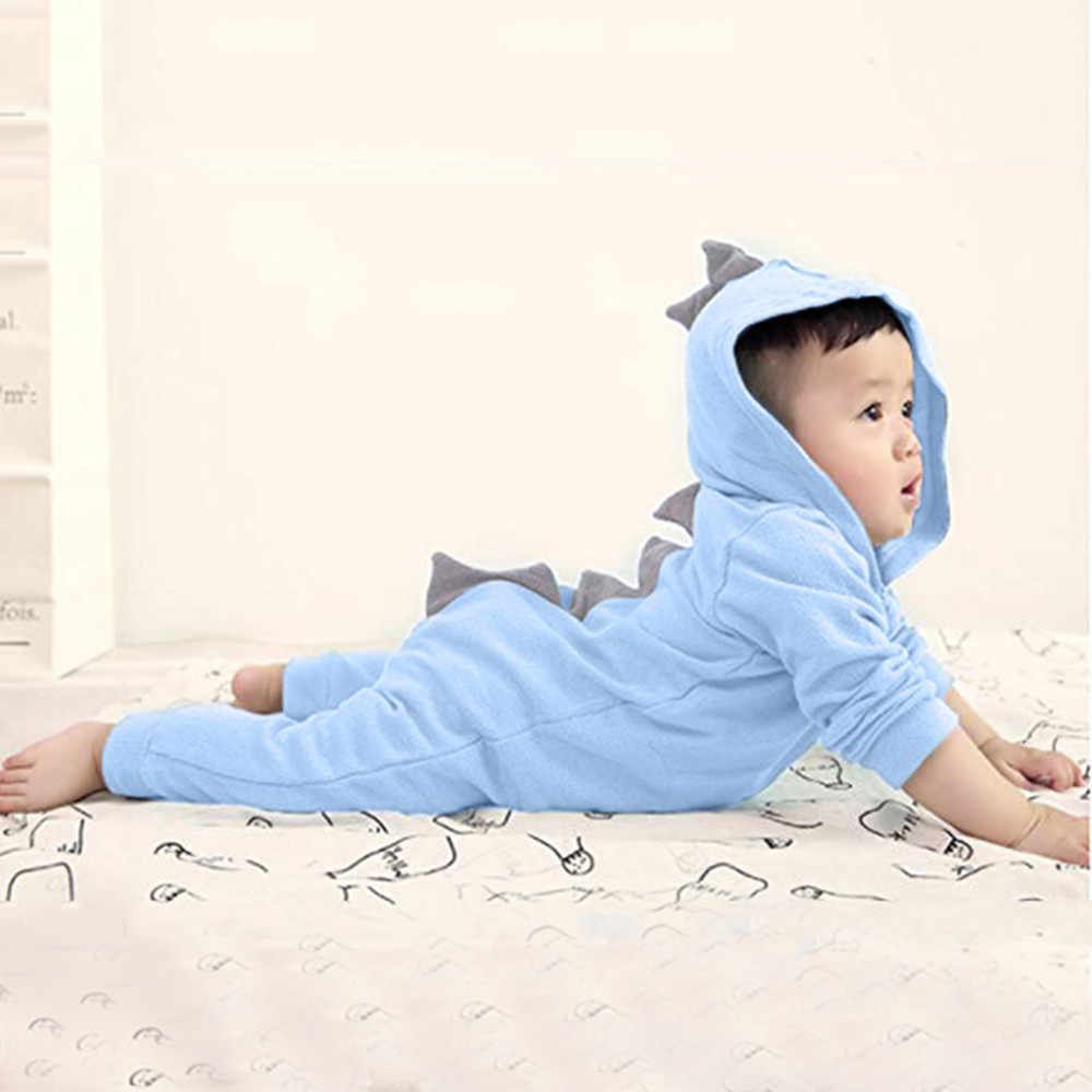 Los muchachos de las muchachas del bebé mamelucos Infantil Niño niños dinosaurio Sudadera con capucha mameluco Zip mono ropa de manga larga de algodón de otoño mamelucos del bebé